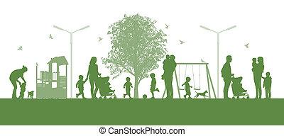 parc, ciudad, familias, niños