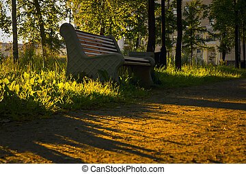 parc, coucher soleil, banc