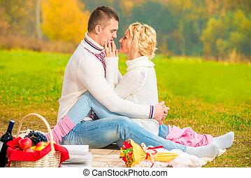 parc, couple, aimer, pique-nique, réunion