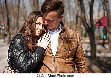 parc, couple, amour, jeune, portrait