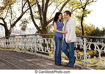 parc, couple, amour