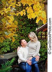 parc, couple, automne, agréable