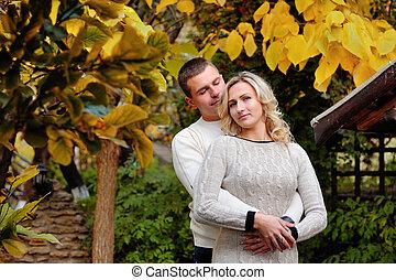 parc, couple, automne