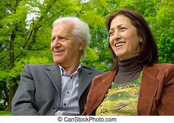 parc, couple, deux âges, heureux