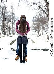 parc, couple, hiver, jeune