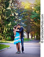 parc, couple, jeune, agréable