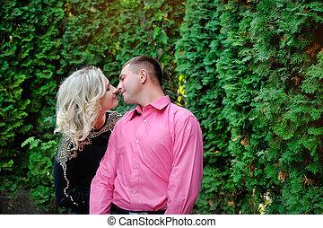 parc, couple, jeune, aimer