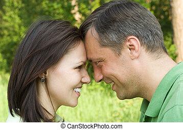 parc, couple, jeune