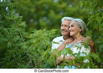 parc, couple, mûrir, été