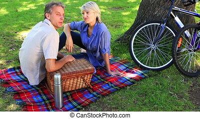 parc, couple, pique-nique, avoir, heureux