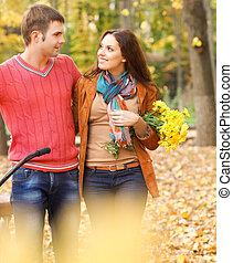 parc, couple, vélo, heureux