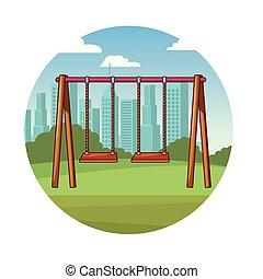 parc, cour de récréation, dessin animé