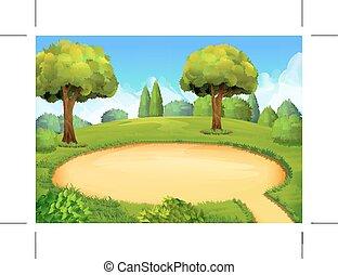 parc, cour de récréation, fond