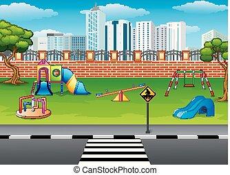 parc, cour de récréation
