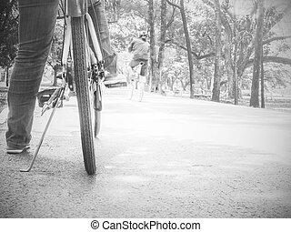 parc, cyclisme, début, gens