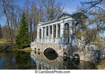 parc, cygne, ekaterinensky, sibérien, galerie, automne, entre, îles, marbre