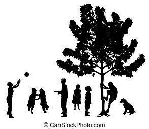 parc, dehors, jouer, enfants