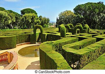 parc, del, laberint, d'horta, in, barcelona, spanje