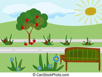 parc, dessin animé, enfantin