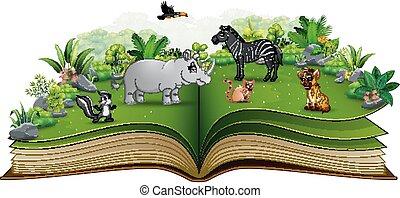 parc, dessin animé, livre, animal, ouvert, jouer