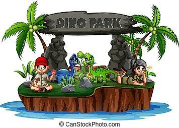 parc, dinosaures, scout, dino, île, gosses