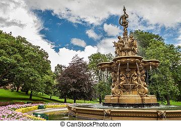 parc, edimbourg, fontaine, central, grand
