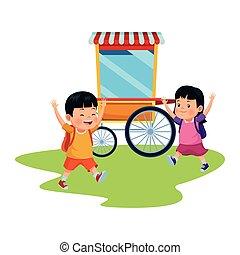 parc, enfants, amusement, heureux