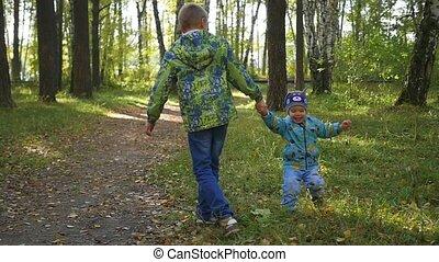 parc, enfants, automne, amusez-vous, jouer