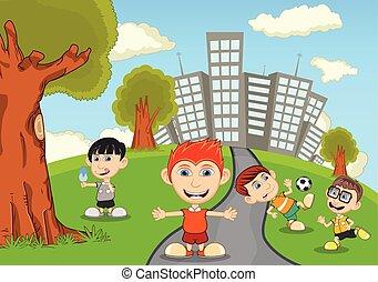 parc, enfants, dessin animé