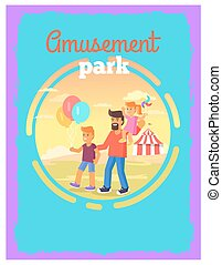 parc, engendrez enfants, amusement, affiche