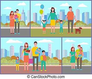 parc, ensemble, amusement, jour, automne, saison, famille, ...