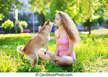 parc, ensoleillé, chien, dehors, propriétaire, girl