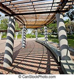 parc, ensoleillé, couvert, jour, walkway