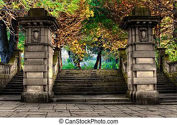 parc, entrée, grès, escalier, élégant