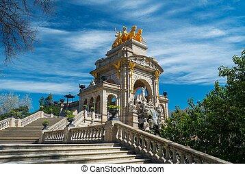 parc, escalera, la, ciutadella, de, barcelona, fuente