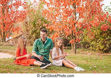 parc, famille, beau, gosses, jour, papa, automne