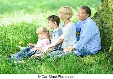 parc, famille, délassant, heureux