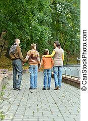 parc, famille, délassant, quatre, automne