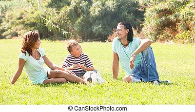 parc, famille, ensoleillé, heureux