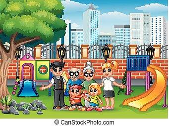 parc, famille heureuse, ville, membre