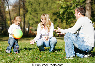 parc, famille, heureux
