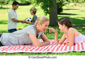 parc, famille