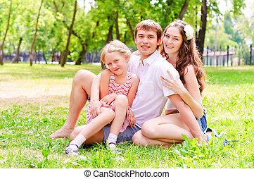 parc, famille, mensonge