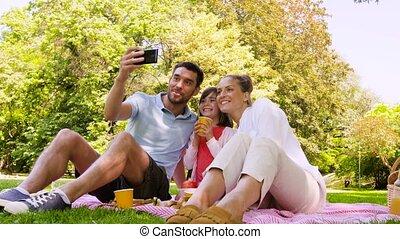 parc, famille, prendre, selfie, avoir pique-nique