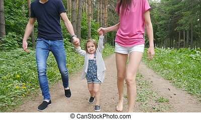 parc, famille, promenade