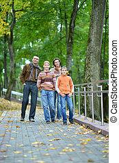 parc, famille, quatre, marche, automne