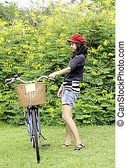 parc, femme, vélo, jeune, retro