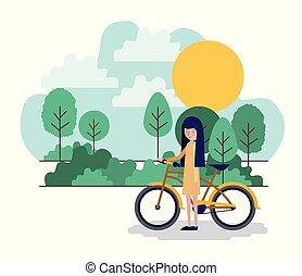 parc, femme, vélo, scène