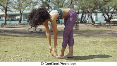 parc, femme, yoga, folâtre, formation