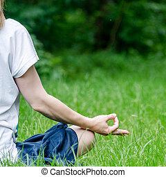 parc, femme, yoga